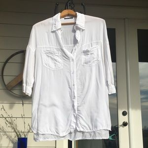 Brandy Melville soft white short sleeve button up